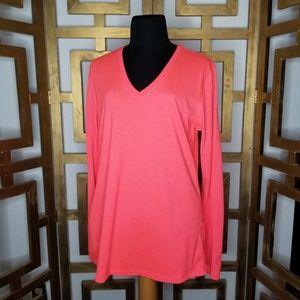 Nike DriFit Women Long Sleeve Neon Pink V Neck Top